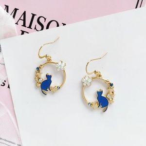 🔥New  Cat & flower blue hook earrings